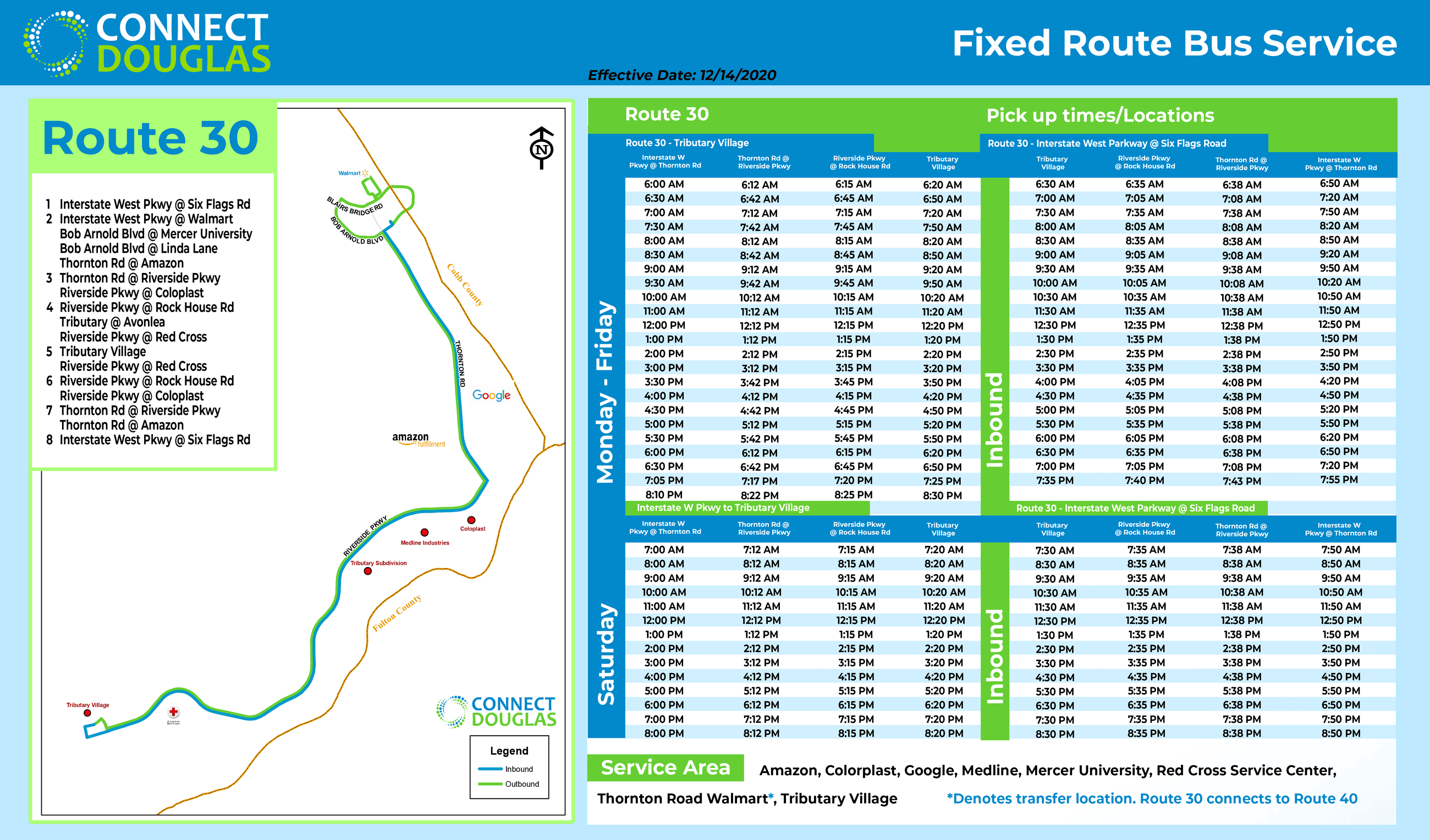 Connect Douglas-Bus Route 30 (Effective 12/14/2020)