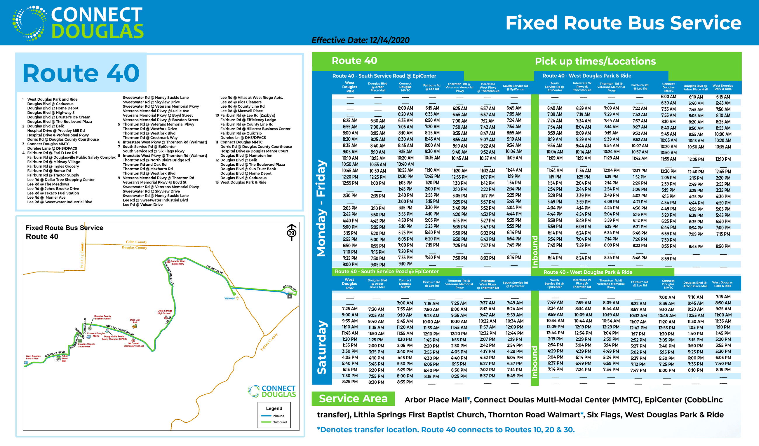 Connect Douglas-Bus Route 40 (Effective 12/14/2020)